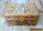 Large Vintage Carved Wooden Box with 'Birds'Design for Sale