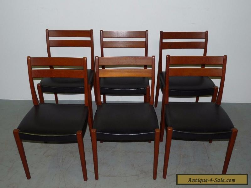 6 Vintage Danish Modern Solid Teak Svagards Markarvd Side Dining Chairs  090708 For Sale