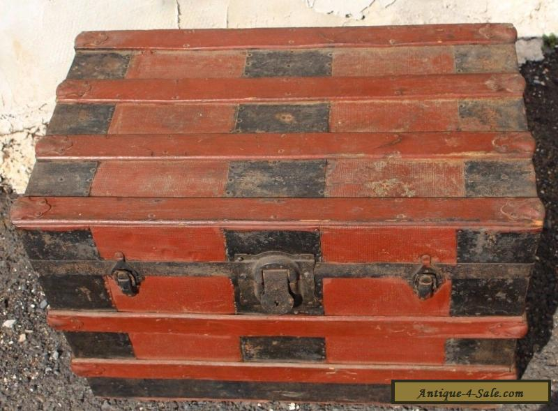 Antique Flat Top Steamer Trunk Wood Stave Travel Treasure