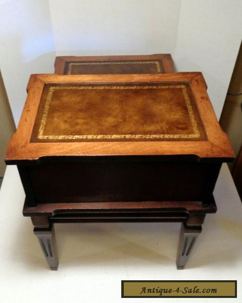 Antique 1940s vintage decorative wooden 2 tier step end table faux