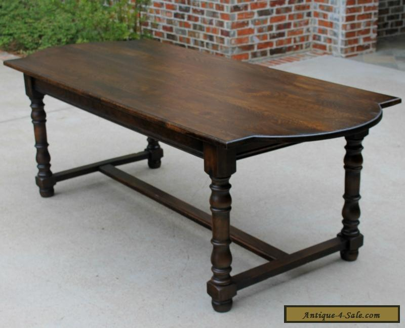 Beau Antique French Dark Oak Farm Farmhouse Dining Table Desk Library Table  LARGE For Sale