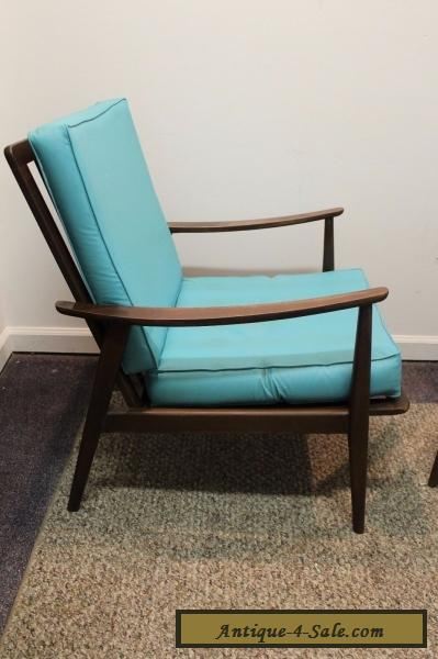 pair of matching mid century danish modern walnut lounge