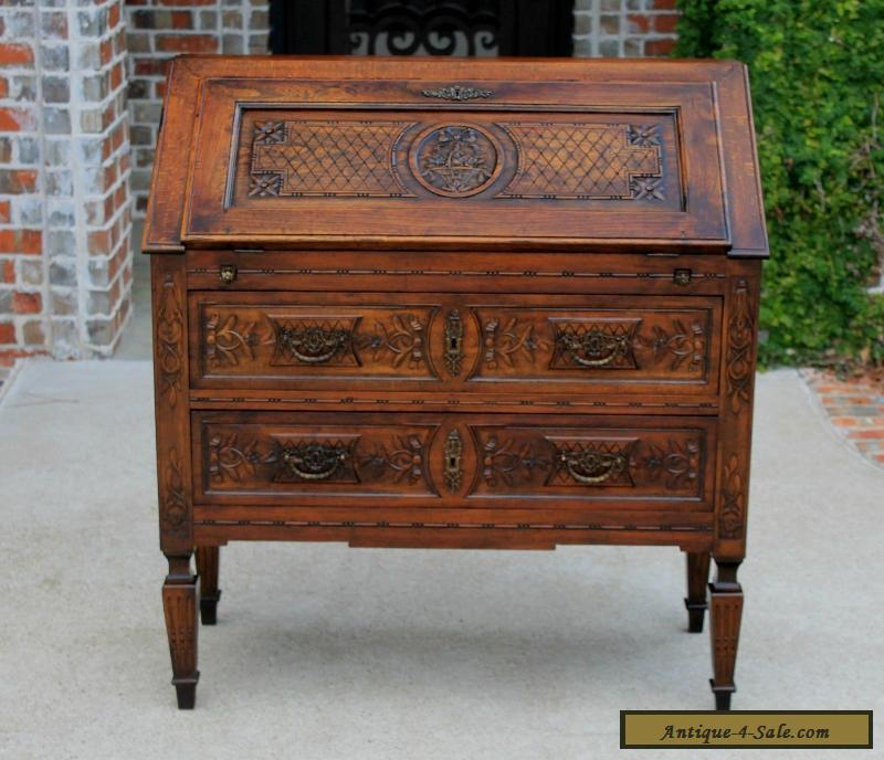 Antique french louis xv style oak fall front writing desk for Bureau louis xv