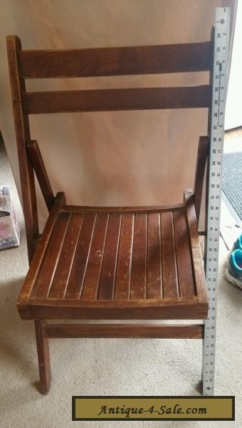Vintage Folding Wooden Chair With Wood Slats Curved Back
