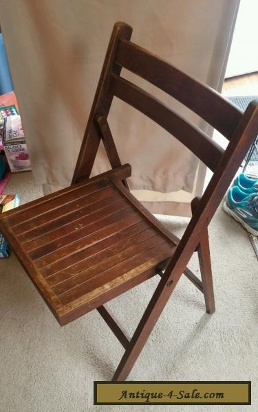 Vintage Folding Wooden Chair With Wood Slats Curved Back For Sale ...