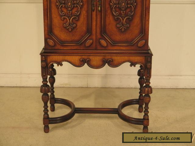F39874: Vintage 1920 s Carved 2 Door Walnut Bar Cabinet ...