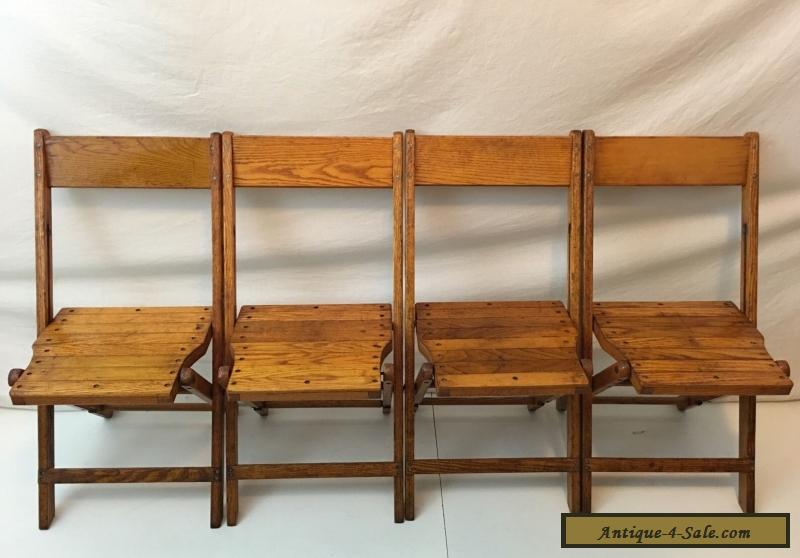 Vintage Snyder Antique Wood Oak Wooden Folding Chairs Set of 4 for Sale - Vintage Snyder Antique Wood Oak Wooden Folding Chairs Set Of 4 For