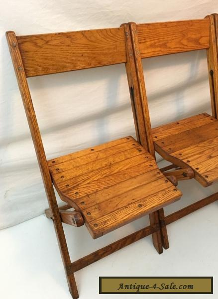 Vintage Snyder Antique Wood Oak Wooden Folding Chairs Set of 4 for Sale in Un