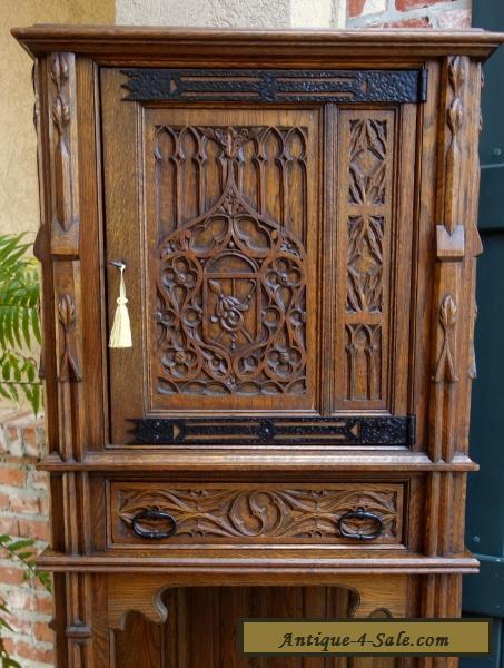 Antique French Carved Tiger Oak Gothic Cabinet Flatware