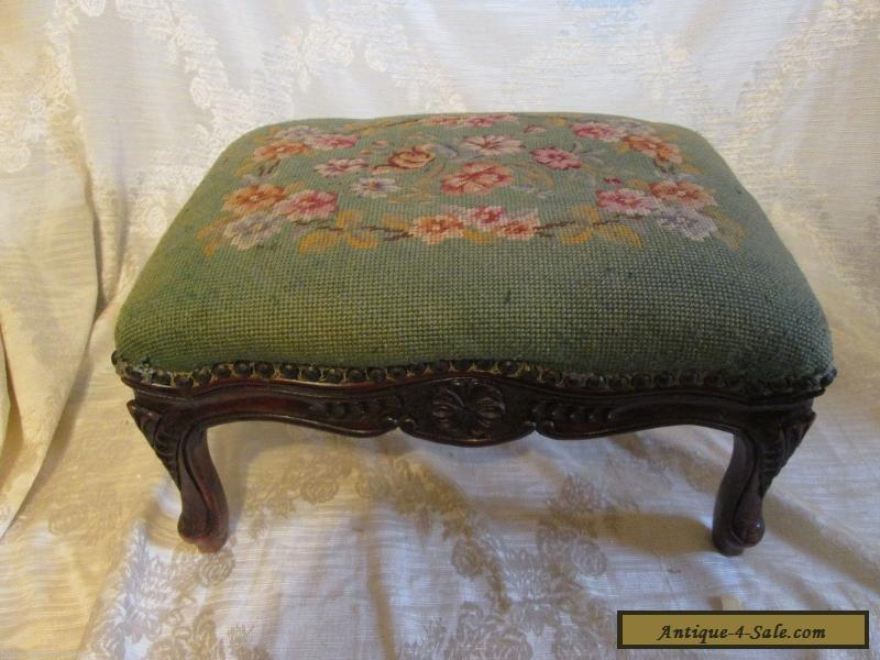 Antique Vintage Victorian Style Footstool Green Floral