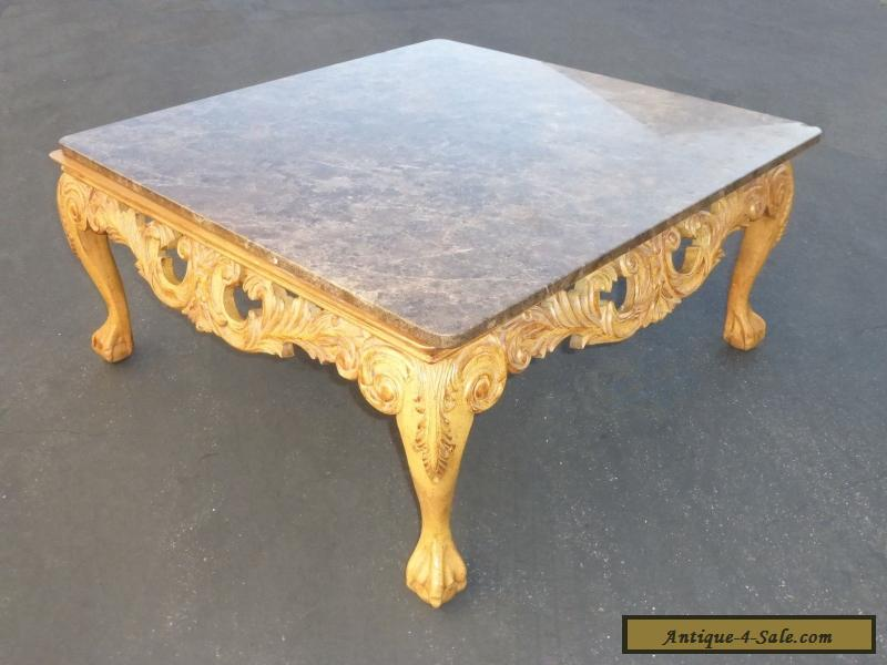 Ordinaire Beautiful Vintage French Ornate Carved Wood Cocktail COFFEE TABLE Marble  Top For Sale