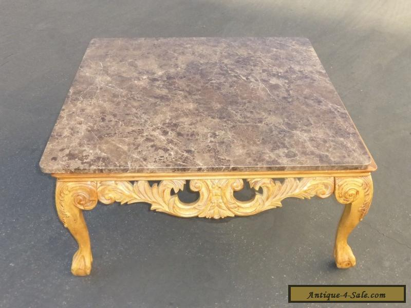 Beautiful Vintage French Ornate Carved Wood Cocktail COFFEE TABLE Marble  Top For Sale ...