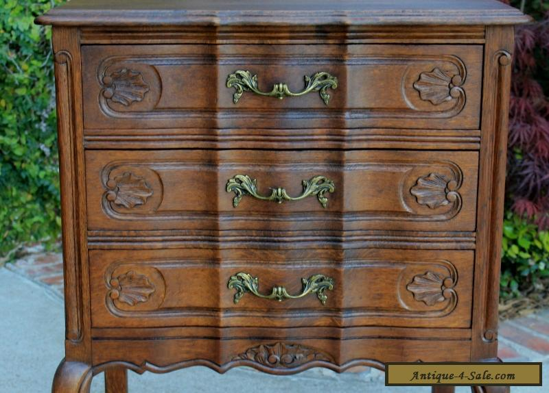 Antique French Tiger Oak Louis Xv Style 3 Drawer Chest End Table Nightstand For Sale In United
