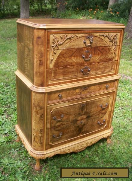 Marquetry Masterpiece Antique Furniture Chest Drawers Dresser French  Provincial For Sale