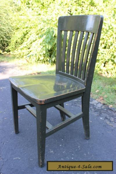 Antique Vintage Solid Oak Wood Chair Army Green Industrial