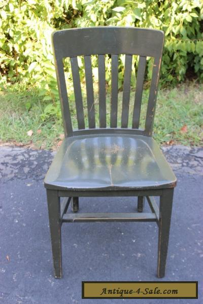 Antique Vintage Solid Oak Wood Chair Army Green Industrial Library Office Ban