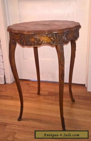 Vintage carved wood french country side end table inlaid