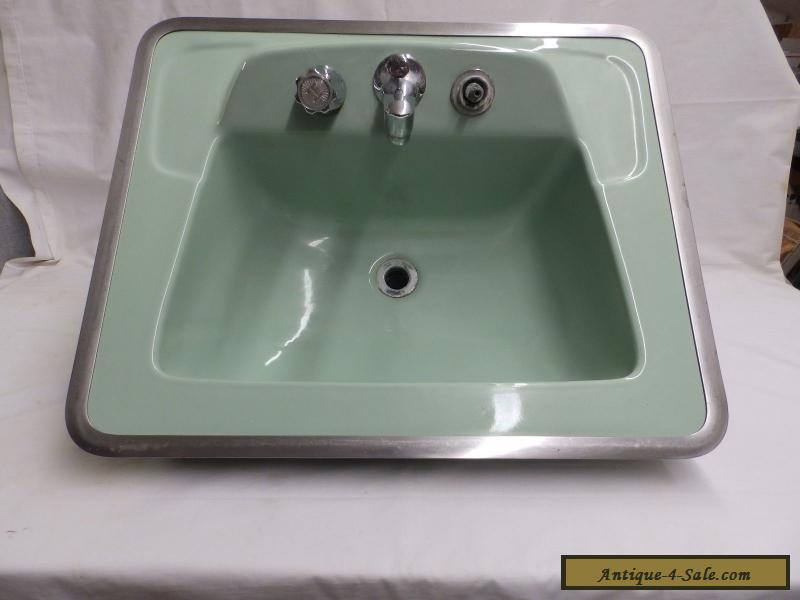 Vintage Jadeite Green Porcelain Ceramic Bathroom Sink Old