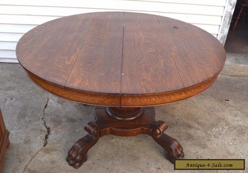 Antique victorian round dining solid wood table with claw for Solid wood round tables dining