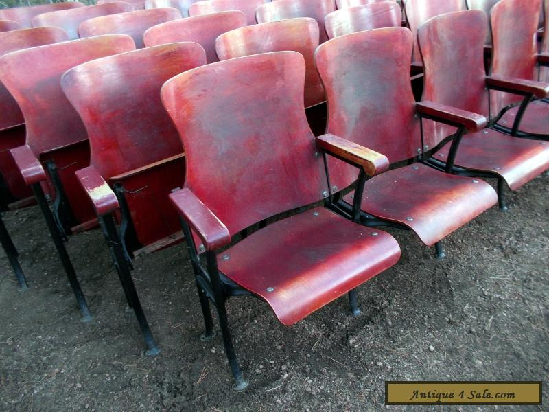 1 ROW OF 6 ANTIQUE VINTAGE AMERICAN SEATING CO WOOD MOVIE THEATER CHAIR SEAT