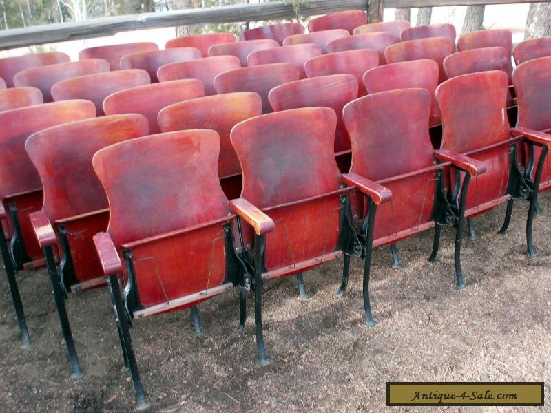 1 row of 6 antique vintage american seating co wood movie theater chair seats for sale in. Black Bedroom Furniture Sets. Home Design Ideas