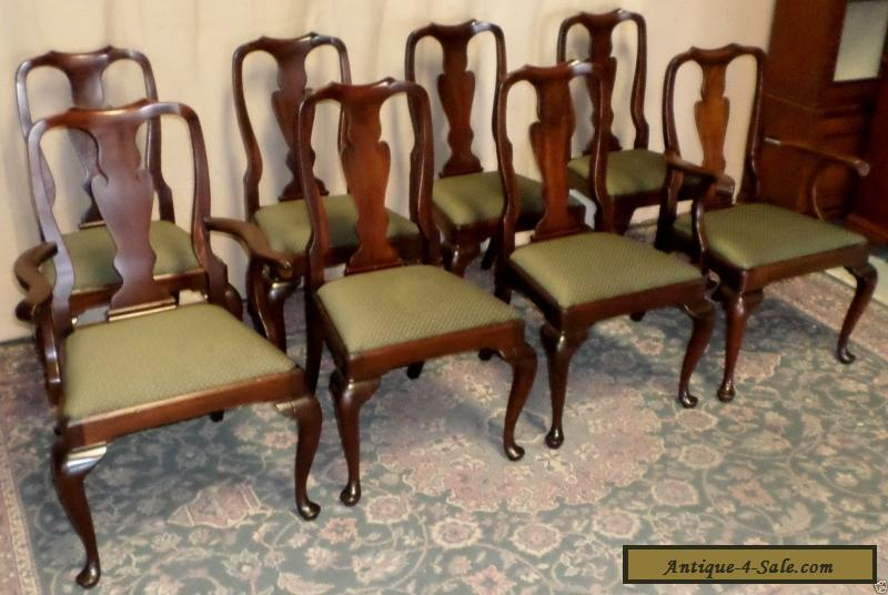 henkel harris chairs mahogany queen anne style dining chairs set 8 vintage for sale in united states. Black Bedroom Furniture Sets. Home Design Ideas