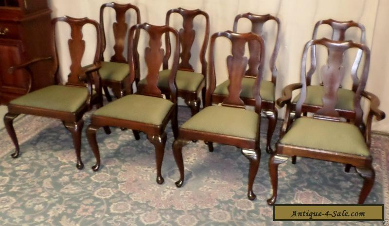 ... HENKEL HARRIS CHAIRS Mahogany Queen Anne Style Dining Chairs Set/8  VINTAGE for Sale - HENKEL HARRIS CHAIRS Mahogany Queen Anne Style Dining Chairs Set/8