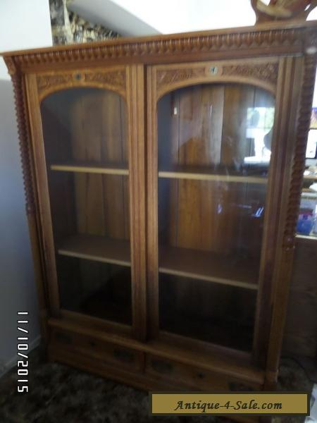 Beau Antique Vintage Curio Cabinet   China Cabinet   Solid Oak Cabinet   1800u0027s  For Sale