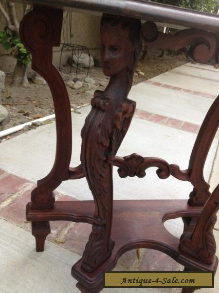 Antique Walnut Wood Carved Heads Statues Wings Side Table