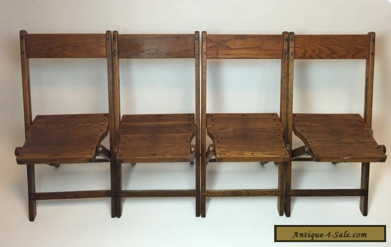 Vintage Antique Wood Oak Wooden Folding Chairs Set of 4 for Sale in United St