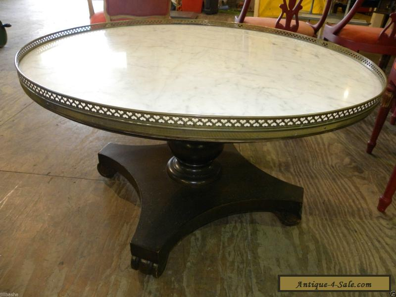 Round Foyer Table Marble Top : Vintage retro marble top round accent foyer or wood coffee