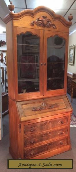 Antique Victorian Burl Walnut Secretary Desk Bookcase
