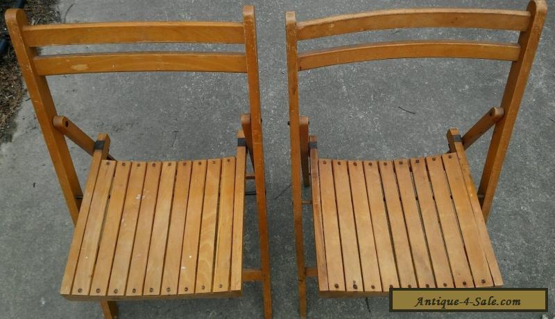 Antique Set Of 2 Wooden Folding Chairs Slat Seat & Back - Art Deco Wood  Vintage ... - Antique Set Of 2 Wooden Folding Chairs Slat Seat & Back - Art Deco