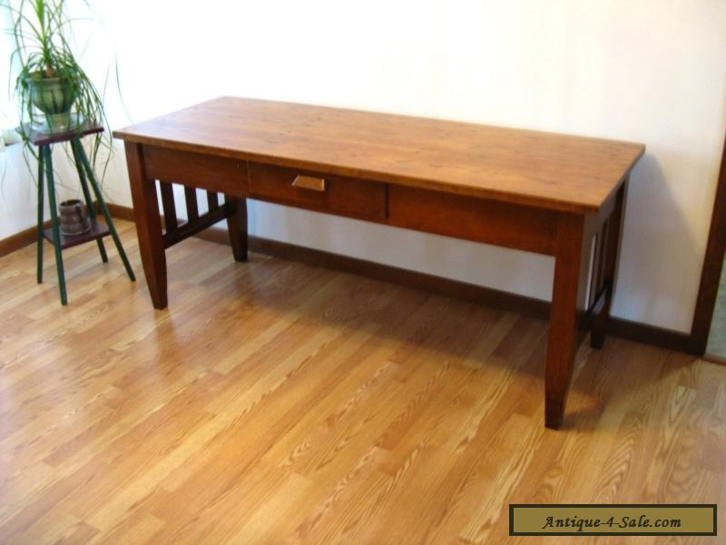 Beautiful Antique Harvest Table Solid Oak, Desk, Work Table For Sale