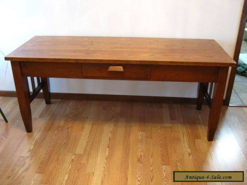 Beautiful Antique Harvest Table Solid Oak Desk Work