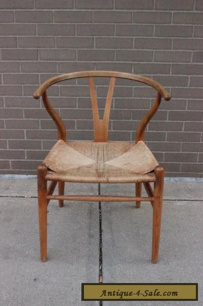 hans wegner ch24 wishbone chair oak frame authentic mid century