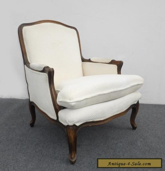 Vintage French Provincial Style Carved Wood White Cotton Blend Accent Chair  for Sale - Vintage French Provincial Style Carved Wood White Cotton Blend