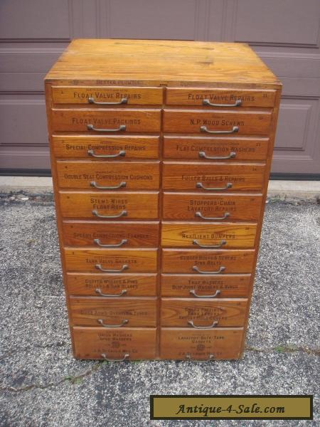 Antique Large Wood Drawer Plumbing Tool & Parts Cabinet ...