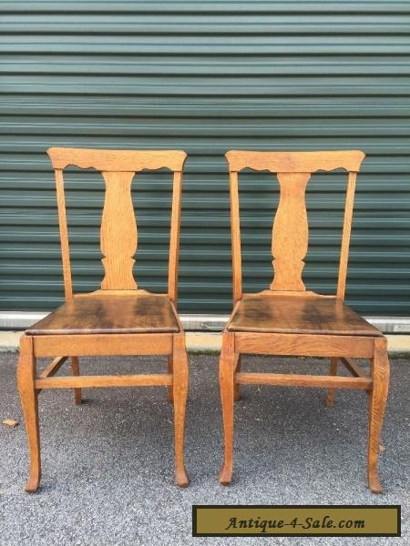 Pair Antique Vintage Oak Wood Wooden Fiddleback Side