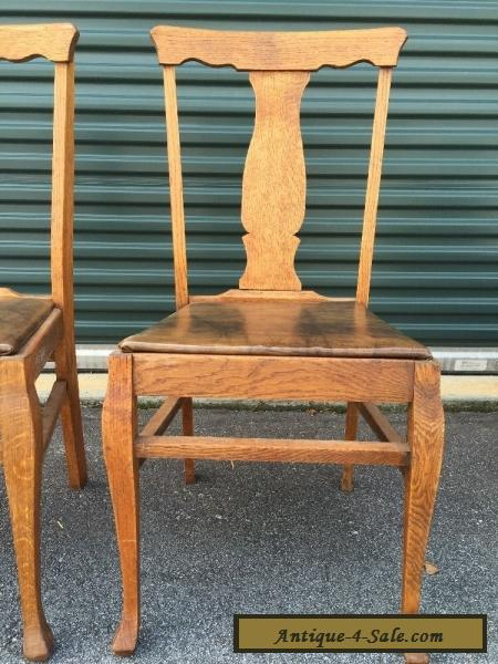 ... Pair Antique Vintage Oak Wood Wooden Fiddleback Side Dining Accent  Fabric Chairs For Sale