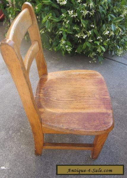 Antique Vintage Child S Wooden School Library Chair Oak