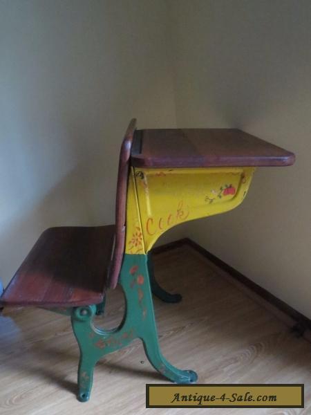 antique old fashion child school desk chair iron metal wood vintage for sale in united states. Black Bedroom Furniture Sets. Home Design Ideas