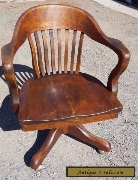 Wood Courtroom Chair Sale ~ Antique solid oak wood swivel chair bankers barrel office