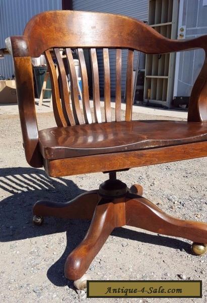 Antique Solid Oak Wood Swivel Chair Bankers Barrel Office Desk Gunlocke  Style For Sale ...