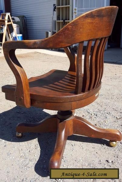 Antique Solid Oak Wood Swivel Chair Bankers Barrel Office Desk Gunlocke Style