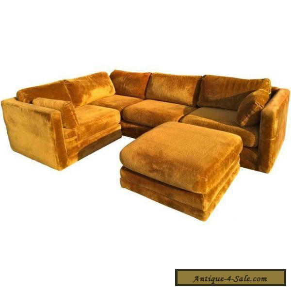 Mid Century Vintage 70's Velvet Rustic Brown Sofa For Sale