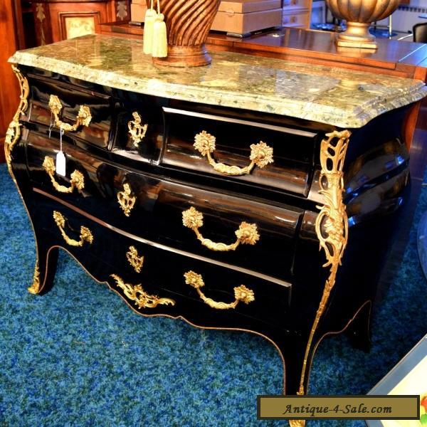 Black Antique Bedroom Dresser, Beige Marble Table Top, Beautiful ...