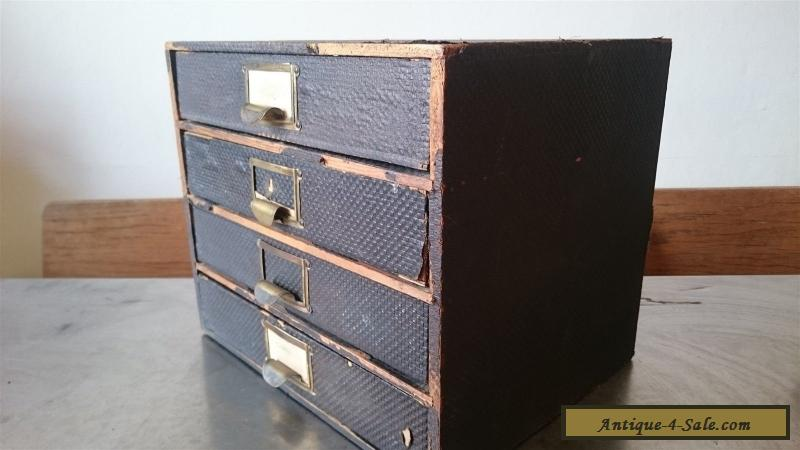 Vintage Wooden File Box Wood Metal Cabinet Chest Of Drawers Desk