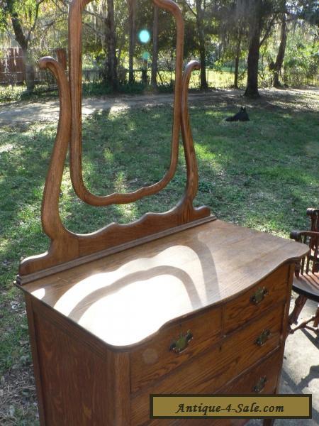 Antique Vintage Oak Dresser Mirror Primative Early American Furniture For