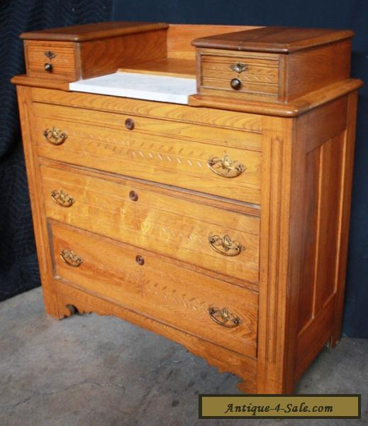 Antique Victorian Spoon Carved Chestnut Wood Marble Dresser Chest Drawers Van